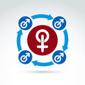 Blue male and red female signs gender symbols connected with arrows group sex conceptual icon relationship concept Stock Photo
