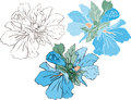 Blue mallow, color and stencil Royalty Free Stock Photo