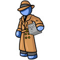 Blue man detective Stock Image
