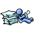 Blue man reading papers Royalty Free Stock Photography