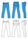 Blue man's jeans (front, back, side views) Stock Photography