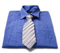 Blue man s shirt and tie new isolated on white Royalty Free Stock Image