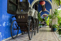 Blue mansion georgetown front picture of the ricksha s at the cheong fatt tze in penang Stock Photos