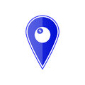 Blue map pointer with billiards ball. Vector illustration