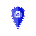 Blue map pointer with first aid kit. Vector illustration