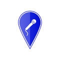 Blue map pointer with microphone. Vector illustration Royalty Free Stock Photo