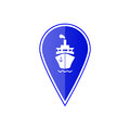 Blue map pointer with ship boat . Vector illustration