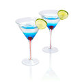 Blue martini curacao drink over white background Royalty Free Stock Photo