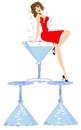 Blue Martini Lady Royalty Free Stock Photography
