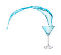 Blue Martini Splasing from the Martini Glass Royalty Free Stock Photo