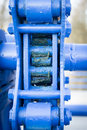 Blue mechanism old of flood gate Royalty Free Stock Photography