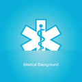 Blue medical background with caduceus snake Royalty Free Stock Photo