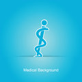 Blue medical background with caduceus snake Stock Photos