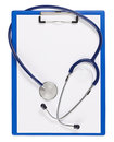 Blue medical clipboard with stethoscope Royalty Free Stock Photo