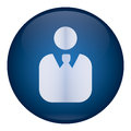 Blue men icon vector user of male wearing suit with tie in button background Royalty Free Stock Photo