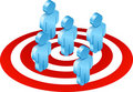 blue men on red target Royalty Free Stock Photo