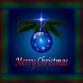 Blue merry christmas card greeting Stock Photography