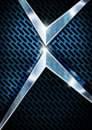 Blue and metal background with grid abstract metallic two chrome arrows Royalty Free Stock Photography