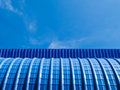 Blue metal sheet and blue sky Royalty Free Stock Photo