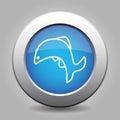 Blue metallic button, white fish jumping icon