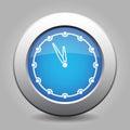 Blue metallic button, white last minute clock icon Royalty Free Stock Photo