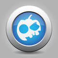 Blue metallic button. White pumpkin icon.