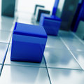 Blue metallic cubes Stock Photo