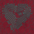 Blue metallic heart abstract pattern on red background. 3d rendering Royalty Free Stock Photo