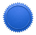 Blue metallic seal empty notary with copy space isolated on white background Stock Photography