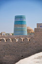 Blue minaret decorated in khiva historical town in uzbekistan Royalty Free Stock Photos