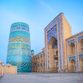 The blue minaret unique and unfinished kalta minor covered with bright tiles became symbol of khiva uzbekistan Royalty Free Stock Photography