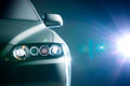 Blue modern car closeup light Royalty Free Stock Photos