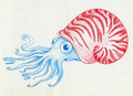 Blue mollusc in a red shell cartoonish wigh big bulging eyes pencil drawin sketch Stock Photo