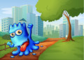 A blue monster in the city illustration of Royalty Free Stock Image