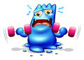 A blue monster exercising Royalty Free Stock Photo