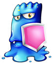 A blue monster holding a pink shield illustration of on white background Stock Photo