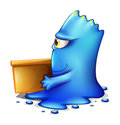A blue monster moving out illustration of on white background Royalty Free Stock Photos