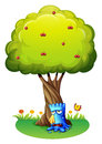 A blue monster sobbing under the tree illustration of on white background Stock Photo