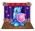A blue monster at the stage holding a shield illustration of on white background Royalty Free Stock Images
