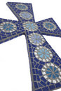 Blue mosaic cross with white background Royalty Free Stock Image
