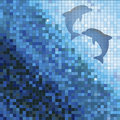 Blue mosaic with dolphins Royalty Free Stock Photo
