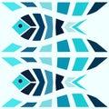 Blue mosaic fish pattern seamless