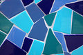 Blue mosaic a made of ceramic tile in different shades of Royalty Free Stock Images