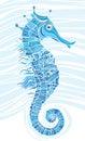 Blue mosaic seahorse Stock Images