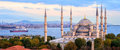 Blue Mosque and Bosporus panorama, Istanbul, Turkey Royalty Free Stock Photo
