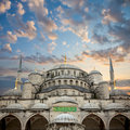 Blue Mosque from courtyard against amazing sky, Istanbul, Royalty Free Stock Photo