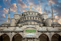 Blue Mosque from courtyard against beautiful sky, Istanbul Royalty Free Stock Photo