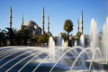 Blue mosque with fountain istanbul turkey Stock Photos