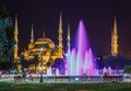 Blue mosque in istanbul and the alley with lanterns sultanahmet square at night Royalty Free Stock Photo