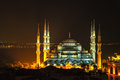 Blue mosque Istanbul by night Royalty Free Stock Photo